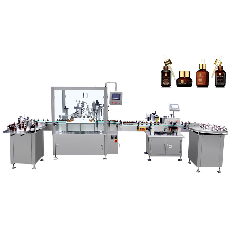 Automatic filling and pump capping machine